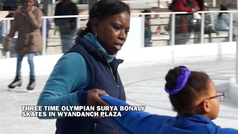 Three Time Olympian Surya Bonaly skates in Wyandanch Plaza